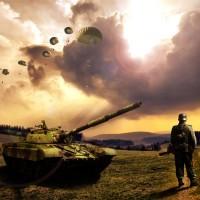 Военная тема - Танк на поле