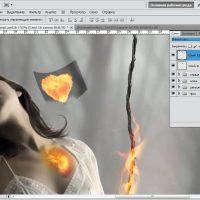 Коллаж огненная девушка (часть 2)
