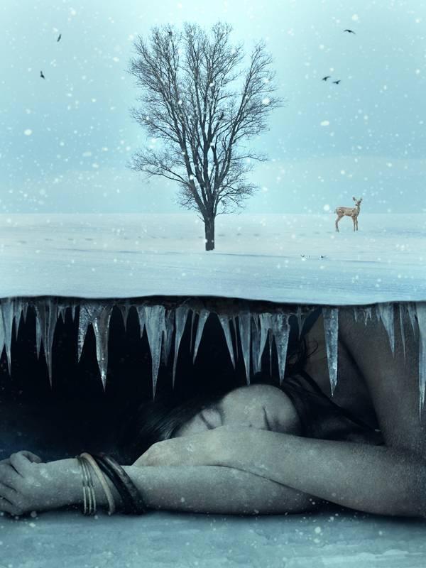 Создаем зимний коллаж с подземным миром